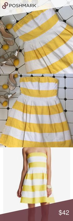 """Ann Taylor Loft Yellow Striped Strapless Flare This dress makes me thirsty for lemonade (mint julep? 🤔) and crave long, lazy summer days. It's made of a linen blend that holds its shape yet sways with movement and the top is """"rubberized"""" to help it stay up. Hidden zipper rear entry. Please feel free to ask me any questions or request other photos. I'm always happy to help! 🙂🙃 LOFT Dresses Strapless"""
