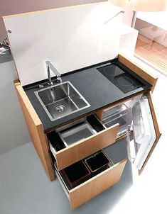 Compact kitchen - would love to have this in the office! lol About Compact Kitchen - Would love to h Small Modern Kitchens, Modern Kitchen Design, Interior Design Kitchen, Interior Decorating, Kitchen Designs, Kitchen Ideas, Diy Kitchen, Kitchen Unit, Decorating Ideas