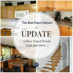 The best paint colours and ideas to update yellow toned oak, wood, cabinets, flooring. Kylie M INteriors E-decor and E-design