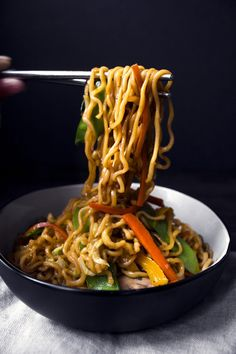 Korean-style sweet potato noodles stir-fried with vegetables. Gluten and dairy free. Vegan/vegetarian friendly.