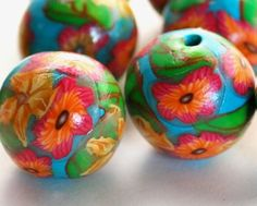 Handmade Polymer Clay Beads Teal Pink Orange by polymerclaybeads, $8.00