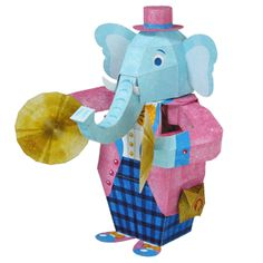 Cymbal Banging Elephant Papercraft | This paper craft is a moving toy elephant that hits a cymbal. When you turn the handle, the elephant hits the cymbal, raises its trunk, and changes the expression in its eyes.