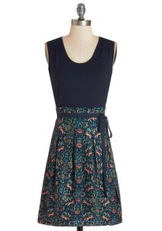 Scenic Road Trip Dress in Navy and Foxes. Decked in this twofer dress by Pink Martini, you're ready for the adventures of the asphalt!  #modcloth