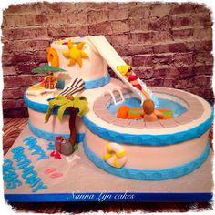 50th birthday pool cake by Nanna Lyn Cakes