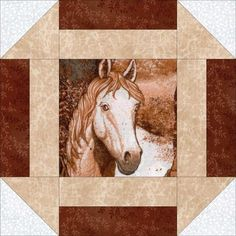 This country western easy quilt kit has a variety of fussy cut wild horse portraits, marble tan, white tone on tone and brown vines. Gorgeous horse quilt kit that is precut for you. Perfect for wester