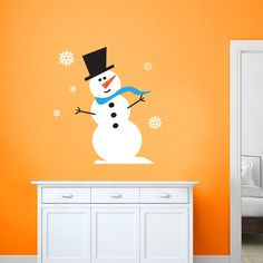 Snowman Wall Decal – Snowman and Snowflakes – Christmas Decal