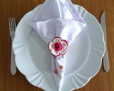 Prendedor de guardanapo flor rosa