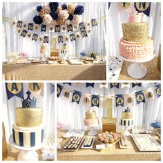Pink Gold Navy Boy Girl Twin 1st Birthday Party Cake Dessert Table