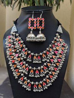 Afghani Jewelery, Afghani necklace and jhumkas,glass enamel work ,boho gypsy necklace, multistrand n Multi Strand Necklace, Boho Necklace, Necklace Set, Fabric Jewelry, Beaded Jewelry, Handmade Jewellery, Antique Jewelry, Vintage Jewelry, Jewelry Necklaces