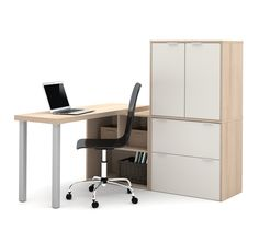 Modern L Shaped Office Desk With Storage In Northern Maple U0026 White