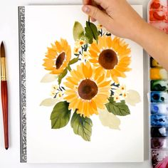 watercolor art easy / watercolor art for beginners . watercolor art for beginners simple . watercolor art for beginners tutorials . Watercolour Tutorials, Watercolor Flowers Tutorial, Simple Watercolor Flowers, Learn To Paint, Art Lessons, Art Drawings, Art Projects, Watercolor Sunflower, How To Watercolor