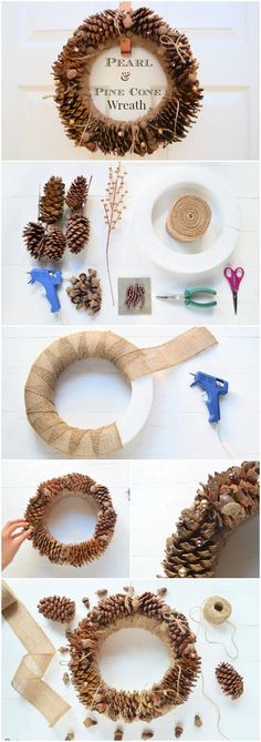 This pearl and pine cone wreath DIY tutorial combines rustic pine cones and acorns with a scattering of pearls for a classy touch of sparkle and shine.