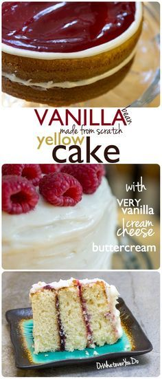 Vanilla Bean Yellow Cake - from scratch! Filled with a raspberry filling and iced with a vanilla cream cheese buttercream.
