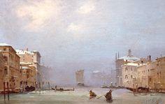 Ippolito Caffi - Neve e nebbia in Canal Grande (100,0 x 63,0 cm)