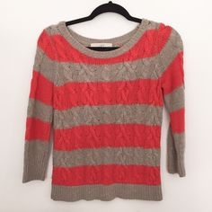 LOFT Coral and Taupe Sweater Sz Small This cute, 3/4 sleeve, taupe, and coral sweater is gently work. It's cable knit and nice and warm. Would look nice with a pair of white pants and booties! LOFT Sweaters Crew & Scoop Necks