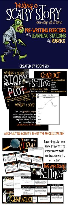 HALLOWEEN WRITING ACTIVITY: use these learning stations to help students explore elements of fiction as they work toward creating their own eerie short story. Editable rubrics included.