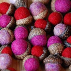 Felted Acorns – Valentine Colors