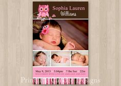 Pink and Brown Owl Baby Birth Announcement by printablecandee, $10.00