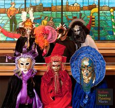 Enjoy the amazing Venetian Mask creations of Veronica Venezia-DeMartini during the Parade of Costumes at Italian Street Painting Marin's Carnevale di Venezia June 27-28!  A big shout out of thanks to San Rafael Joe's for your continued support of our event, and for hosting our photo shoot!  Photo by: Robert Morris  Tickets Available online at www.ispm.brownpapertickets.com or cash at the door $5 on Saturday $10 on Sunday Kids 12 and under FREE!!  #VenetianMasks