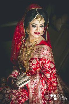 Red Saree Wedding, Indian Wedding Bride, Indian Wedding Makeup, Indian Bridal Outfits, Indian Bridal Fashion, Indian Bridal Wear, Bridal Lehenga, Red Lehenga, Asian Bridal
