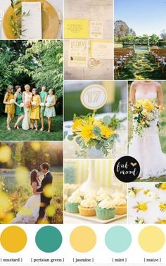 Mint mustard color palette for late summer wedding to autumn,Autumn wedding inspirations,perisian green wedding color,mustard wedding color,maize color