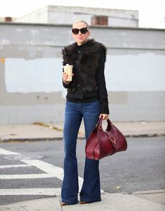 Look 3 of 3... my faves... Dark denim, boot cut jeans, pointy heels or wedges, large leather bag always in a fun color option!