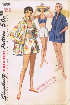 Simplicity 1659 • 1950s beachwear vintage sewing pattern