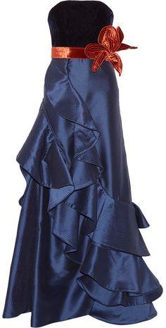 Johanna Ortiz - Grace Kelly Ruffled Taffeta And Velvet Gown - Navy