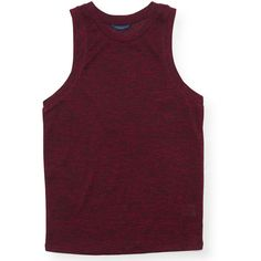 Aeropostale Brushed Jersey Tank ($14) ❤ liked on Polyvore featuring tops, volcano red, red top, high neck tank top, aeropostale tops, red singlet and purple tank