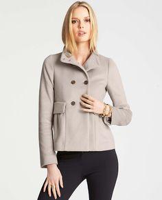 Petite Shirred Wool Blend Pea Coat