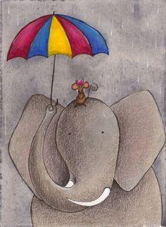 Jungle Themed Nursery Elephant and Mouse Art Print 4x6 | ChristyBeckwithStudios - Illustration on ArtFire