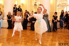 Moscow ball in the famous 19th century Column Hall where the girls, Anastasia and Natalia wore flora and henri and danced to Spivakov's orchestra. www.florahenri.com