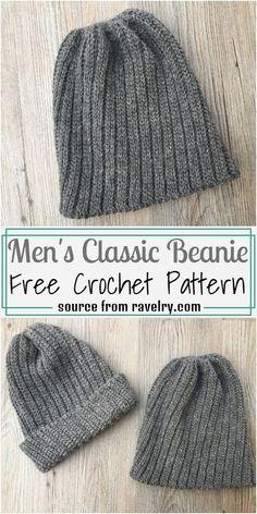Crochet Beanie Hat Free Pattern, Mens Crochet Beanie, Beanie Knitting Patterns Free, Bonnet Crochet, Easy Crochet Hat, Hat Patterns, Crochet Patterns, Crochet Man Hat, Mens Knit Hats