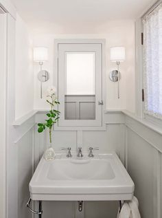 What a nice way to dress up a small powder room.