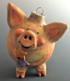 Vintage Style Pig Ornie/ Small Sculpture by Doren Kassel