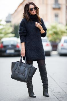 Sweater dress and boots: H&M Paris Collection | Tights: Calzedonia | Bag: Celine | Sunglasses: Karen Walker