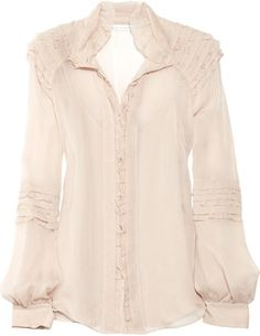 38affaf3 Diane von Furstenberg Pintura ruffled silk-crepe blouse - ShopStyle  Longsleeve