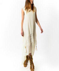 Love this Ecru Crochet-Detail Sidetail Dress on #zulily! #zulilyfinds