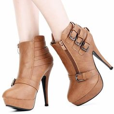 Cool Russet Platform High Heel Gothic Punk Fashion Ankle Boots Women SKU-11405418