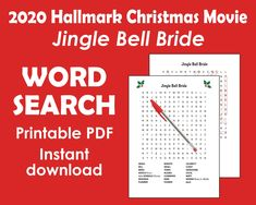 Christmas Word Search Printable Hallmark Christmas Movies | Etsy Fun Activity for Hallmark Movie Lovers! Whether you're curling up with a heartwarming holiday romance movie or hosting a movie night party, this Hallmark Christmas movie word puzzle will make the fun even more merry. This word puzzle is based on: JINGLE BELL BRIDE which premiers Oct. 24, 2020 as part of Hallmark's Countdown to Christmas series. Click on the pin to learn more!