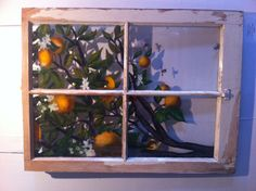"""Oil painting, """"Free Bees"""" on reclaimed window by Redlands, CA artist Christine White."""