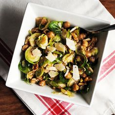 Chickpea-Brussels Sprout Salad with Parmesan and Walnuts http://www.prevention.com/food/10-healthy-chickpea-recipes/chickpea-brussels-sprout-salad-parmesan-and-walnuts