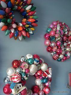 vintage ornament wreaths