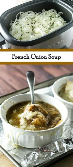 Warm and cozy French Onion Soup - Use a slow cooker to caramelize the onions overnight to save time!