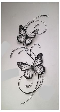 Butterfly Tattoos For Women, Small Butterfly Tattoo, Small Flower Tattoos, Butterfly Tattoo Designs, Small Tattoos, Butterfly Drawing, Simple Butterfly, Drawing Flowers, Drawings Of Butterflies