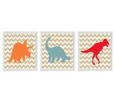 Lámina de dinosaurio  vivero chico sala Chevron por RizzleandRugee