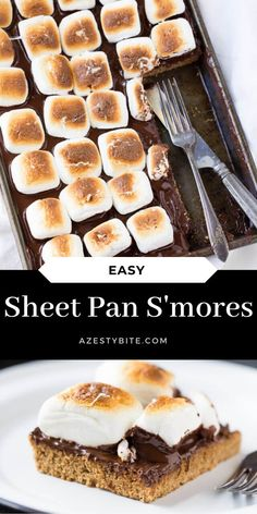Sheet Pan S'mores for a mass batch and easy way to appease your family with s'mores. They are simple to make a tasty treat for everyone.  #sheetpanrecipes #sheetpansmores #smorerecipes