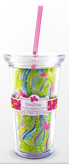 Lily Pulitzer travel cup...you can get yours at Loli's invitations & Things! -- buying this now.