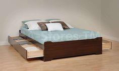 Coal Harbor 6 Drawer Platform Storage Bed in Espresso by Prepac Furniture