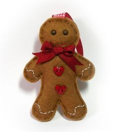 Felt Gingerbread Man Christmas Decoration.